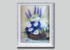 Шелкография Лукошко с цветами