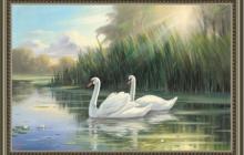 Репродукция на холсте Лебединая пара