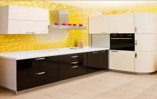 Кухня МДФ белый глянец-черный глянец / Магазин Мебельмакс