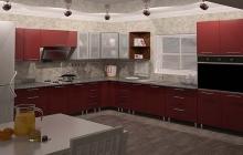 Кухня МДФ крашенный RAL 3003
