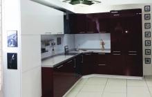 Кухня ЗОВ Акрил Белый/Бордо