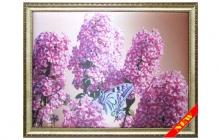 Шелкография Цветы и бабочка