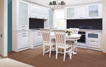 Кухня МДФ крашенный Глазго белый структура, патина серебро